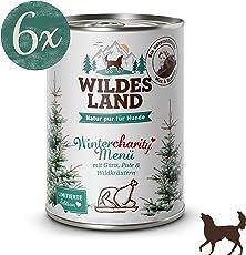 Wildes Land | Nassfutter für Hunde | mit Wildkräutern & Distelöl | Glutenfrei | Extra viel Fleisch Akzeptanz und Verträglichkeit | Rohstoffe aus der Lebensmittelproduktion