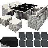 TecTake 800855 Salon de Jardin en Résine Tressée Extérieur Poly Rotin 10 Places Cadre en Aluminium Housse de Protection – Div