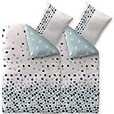 CelinaTex Bettwäsche 4tlg 135x200 Baumwolle Set Kopfkissen Bettbezug Reißverschluss atmungsaktiv Bett Garnitur 80x80 Kissen Bezug 0003964 Fashion Iris weiß blau Punkte Kreise