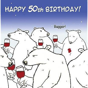 Twizler Funny Birthday Card With Polar Bear And Wine 50th Humour
