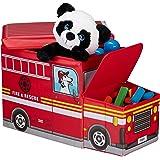 Relaxdays Tabouret Coffre boîte à Jouets Couvercle Pouf Enfant Pliable Auto 50 litres, Voiture Pompier Rouge, Polyester, Fire