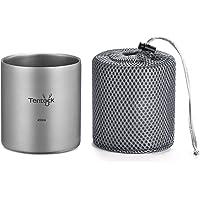 Tentock Titanium Mug Portable Camping Water Cup Mug with Double Layer, Outdoor Ultralight Pure Titanium Cup 350ml…