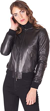 D'Arienzo Bomber in Pelle Nera Donna Giacca Vintage Giubbotto Moto Vera Pelle Made in Italy G156