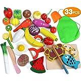 2 Lots Jouet d'Imitation Cuisine Légume en Bois Coupe Velcro Jeu de Découpage Cadeau pour Enfant Mixte