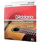 D'Addario EJ84M Cordes pour guitare acoustique jazz manouche Extrémité à boucle Moyen 11-45