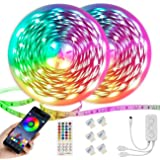 Ruban LED 20M ,Bande LED 5050 RGB 600 LEDs,Kit de Bande LED Multicolore avec Télécommande IR à 40 Touches, Contrôlé par APP,