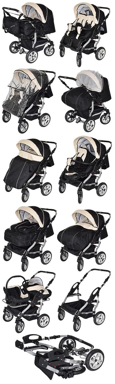 Zwillingskinderwagen mit babyschale  Adbor Duo Zwillingskinderwagen mit Babyschalen - silbernes Gestell ...