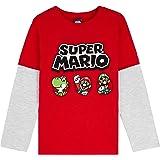 Super Mario Camiseta Niño, Camisetas de Manga Larga Azul y Roja con Mario Bros, Ropa para Niño de Algodon, Regalos para Niños