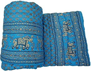 Jaipuri Razai/Rajai Double Bed Cotton Rajasthani Sanganeri Floral Print Quilt Blanket (85 inches X 100 inches)
