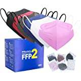 FFP2 Maske CE Zertifiziert - 6 Farbe 30 Stück Masken - Schwarz Rot Blau Rosa Weiß Grau Premium hygienische Einzelnverpackung