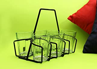 A Krazy Mug Cutting chai Glasses with Stand, Tea Glass Set of 6 Transparent with Stand