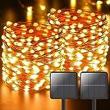 [Lot de 2] Guirlande Lumineuse Exterieure Solaire, Litogo 11m 110 LED Ruban Guirlande LED Solaire Exterieur 8 Modes Étanche F