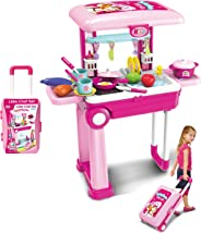 Popsugar Kitchen Set Trolly with Light and Music Toy for Kids,