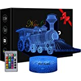Train 3D Illusion Lamp, Train Gift for Boys, 16 Colors Changing Night Light with with Remote Control, Birthday Gift for Boys