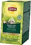 Lipton grüner Tee Sencha Pyramid Teebeutel aromatischer, langblättriger Tee 1er Pack (1 x 30 Teebeutel)