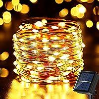 Solar Weihnachtsbeleuchtung Außen, NEXVIN 10M 100 LED Solar Lichterkette Aussen Wasserfest, 8 Modi Solar Kupferdraht…