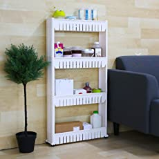 Zofey Plastic 4-Layer Storage Rack with Wheels for Kitchen, Bathroom and Bedroom(White, 54x12x100cm)