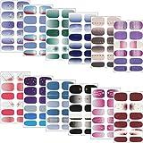 Gresunny 12 vellen Full Wraps Nagellak Stickers Zelfklevende Nail Art Decalstrips Waterdichte French Manicure Kits met Nagelv