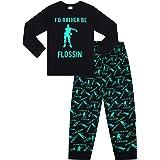 "Pijama largo de algodón verde con texto ""I d Rather Be Flossin Dance Gaming"""