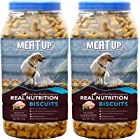 Meat Up Chicken Flavour , Real Chicken Biscuit, Dog Treats - 1kg Jar ( Buy 1 Get 1 Free)