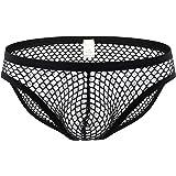 Papapai Men Sexy See Through Mesh Boxer Brief Boy Shorts Underpants Underwear Men's Fishnet See Through Low Rise Bikini Brief