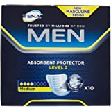 Tena For Men Level 2 Odour Control Incontinence Pads, 10 Pads (Pack of 1)