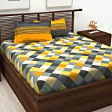 Story@Home Cotton Checkered 1 Double Bedsheet and 2 Pillow Cover - Yellow and Gray