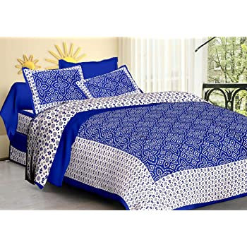 5554ae3e7a Rudra 100% Cotton Rajasthani Jaipuri Sanganeri Traditional King Size Double  Bed Sheet with 2 Pillow Covers