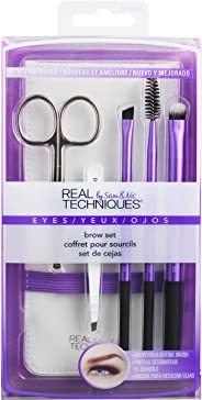Real Techniques Brow Make-Up Brush set (includes tweezers), Pack of 1