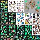 Tatuajes Temporales Niños Pegatinas 240 Luminosos Tatoos Infantiles Stickers,Set Horror de Tatuaje Mixto Unicornios Sirenas
