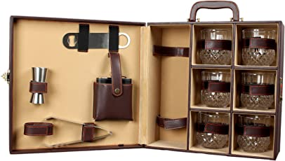 Telconi Wooden Travel Bar Set, Brown