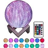 """Justech 3D Lampe Lune Diamètre 5.9""""/15cm Dimmable 3 Modes Contrôle 16 Couleur RGB Veilleuse de Ciel Étoilé Rechargable USB av"""