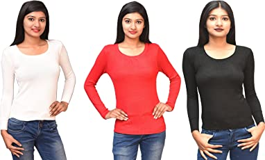Otia Woolen Blouses (Combo 3 Pcs. Black/Red/White) - Full Sleeves Ladies Winter Top Looks Stylish on Saree & Western Wear - Women sweater Blouse Goes Perfect with Jeans for Girls - Comfortable 3pcs Combo Black/Red/White Party Wear Tops Fits Easily Free Size