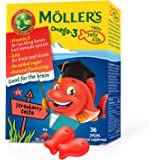 Mollers Omega-3-kapslar för barn   Naturlig Omega-3-fiskolja med jordgubbsmak   Med DHA och EPA   Lätta att tugga   Inget glu