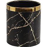 Poubelle en cuir texture marbre pour salle de bain, salon, bureau (marbre noir doré)