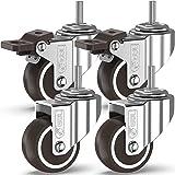 GBL® 4 Zwenkwielen 50mm Bout M10x25mm TPR Rubber | Zwaarlastwielen 200KG - Meubelzwenkwielen Voor Meubels | Zwenkwieltjes voo