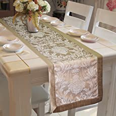 Lushomes Polyester Silver Pattern Jacquard Table Runner, 16x72 Inches