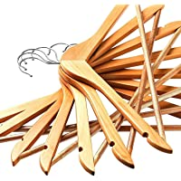 STAR WORK Natural Finish Solid Wood Garment Hangers with Non Slip Bar and Precisely Cut Notches 360 Degree Swivel Chrome…