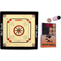 Gsi Carrom Board (20 inch X 20 Inch) with Coins Striker and Boric Powder for Kids and Children , Brown (Small)