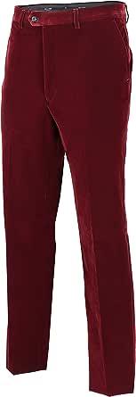 Mens Velvet Burgendy Trousers [Waist 42,TRS-SAM-Burgundy]