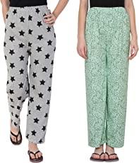 FflirtyGo Night Pyjamas for Women, Night Dress, Lounge Wear, Combo of Grey and Green Cotton Pyjama (Pack of 2),–Soft Cotton Night Wear Combo Pack- Rs. 50/- Saving