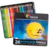 24 Watercolor Pencils Professional, Numbered, with a Brush and Metal Box - 24 Water Color Pencils for Adults and Adult Colori