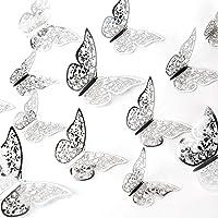 AIEX 24pcs Ornements De Papillons 3D Autocollants Amovibles Vifs avec 3 Tailles Différentes (Argent)