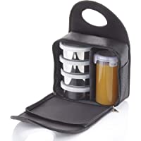 Wellcare Carewell Royal 4 Containers with Leak Proof Plastic Glass Lunch Box (Black-White, 1500 ml)