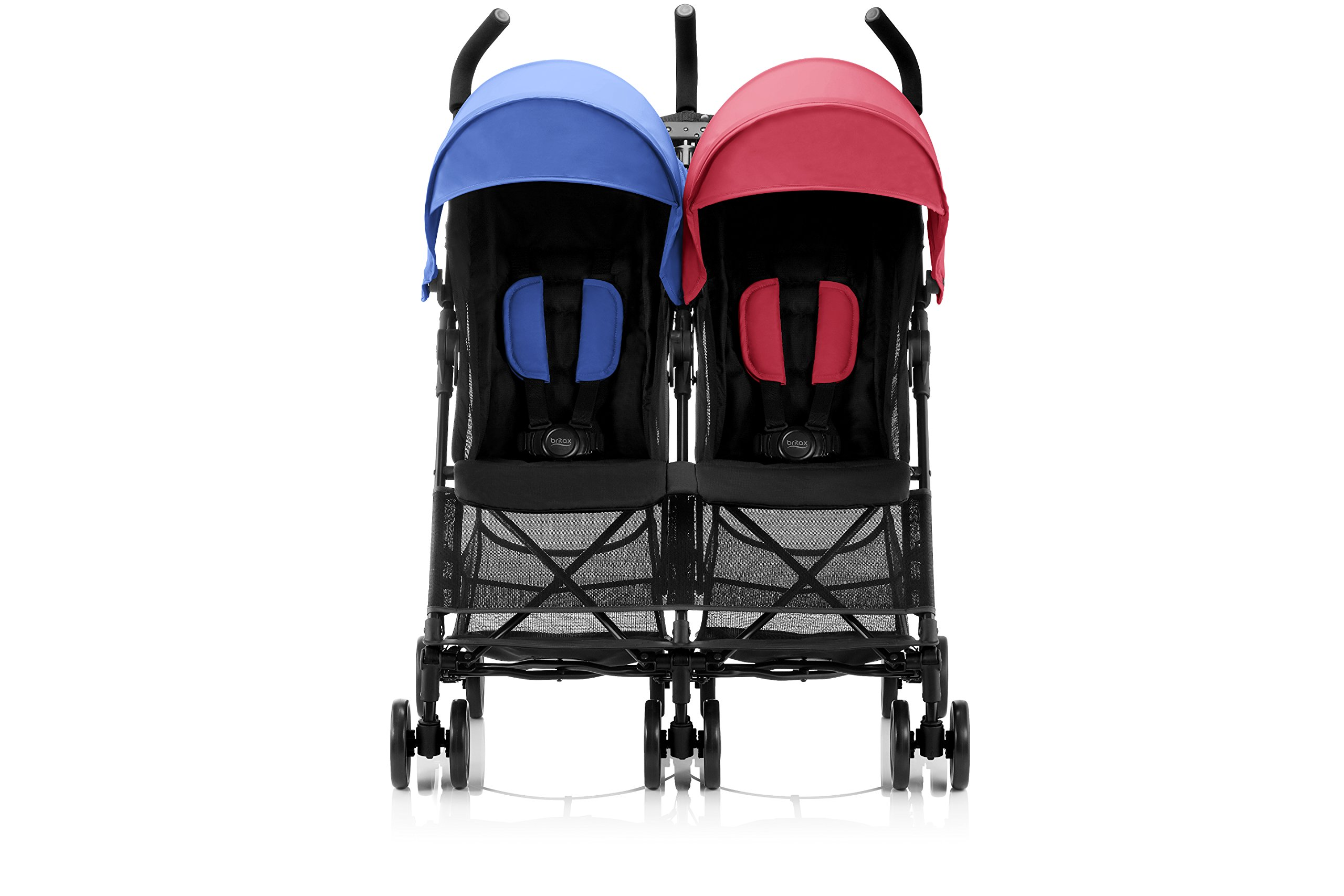 Britax Römer HOLIDAY DOUBLE Pushchair (6 months - 15 kg|3 years ) - Red/Blue  Reclining backrest - you can make your child's journey even more convenient with the reclining backrest. the backrest can be reclined independently which gives you the flexibility to provide a relaxing sleeping position for each child individually. Seat unit with mesh panels - to keep your child comfortable on hot days, the seat unit has mesh panels on the sides and top of the seat unit for better air circulation. Large hood with sun visor - when taking a nice relaxing stroll in the sun, the large hoods with sun visor are independently adjustable and provide protective shade to your little passenger. 2
