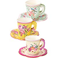 Talking Tables TS6-CUPSET-VINTAGE Pack of 12 Cup & Saucer Afternoom Vintage Floral Tea Set   Truly Scrumptious for Birthday Party Wedding Baby Shower, Paper, Mixed Colours