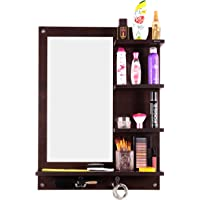 Madhuran Wall Mounted Prelaminated Engineered Wood Dressing Table Mirror with Shelf Wenge Color