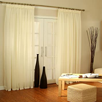 Pale CREAM Voile Curtain Window Panel Opaque Semi Sheer Ideal ...