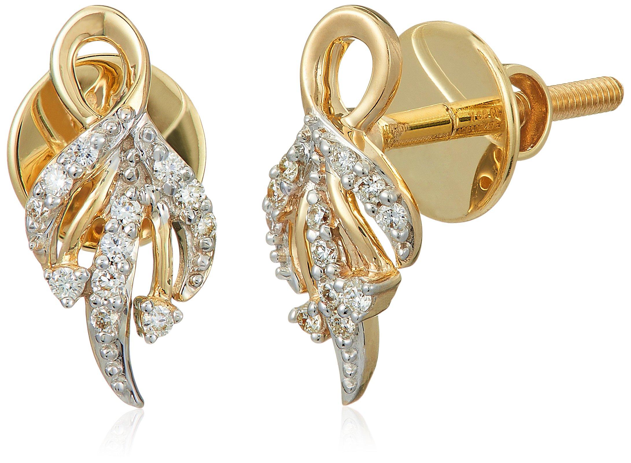Senco Gold 14KT Yellow Gold and Diamond Stud Earrings for Women (DT-D000123777)