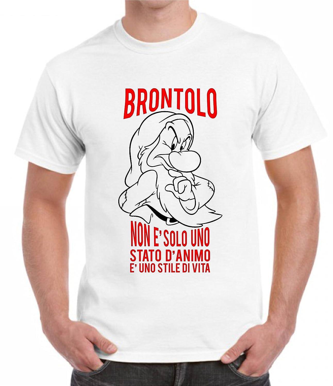 Amato T-shirt uomo maniche corte BRONTOLO E' UNO STILE DI VITA frasi  AG28